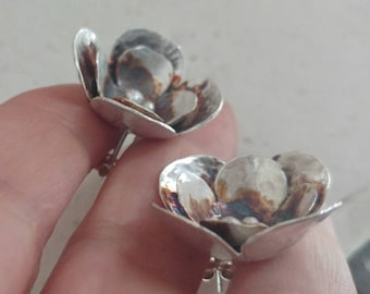 Large Stud Flower Earrings, Statement Jewelry,Metalwork Sterling Silver