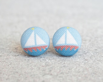 Sailboat Fabric Button Earrings