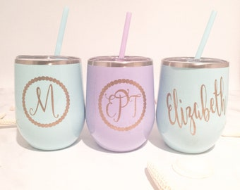 Personalized Wine Tumblers - Monogram Wine Tumbler - Gift For Her - Name Wine Tumbler - Birthday Gift for Her - Wine Gift - Graduation Gift