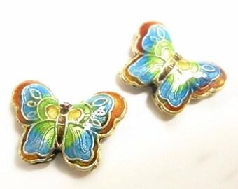 2pc 23x17mm handmade butterfly Cloisonne Beads-2559
