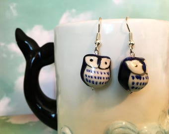 Dark blue navy ceramic owl drop dangle earring hypoallergenic
