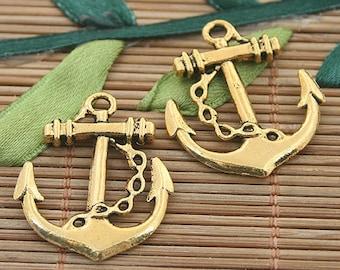 15pcs dark gold tone anchor charms h3158