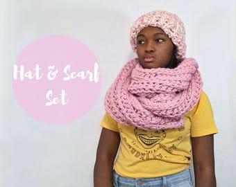 HAT + SCARF SET, Knit Blanket Scarf, Helsinki Hat, Pink Super Chunky Hat, Winter Hat, Chunky Scarf, Helsinki Hat, Extra Long Scarf