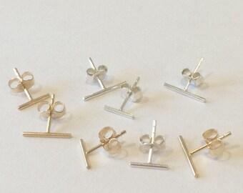 Gold Bar Studs, Bar Earrings, Tiny Earrings, Sterling Silver, Gold Filled, Line Earrings, Stick Earrings, Minimalist, Geometric Studs