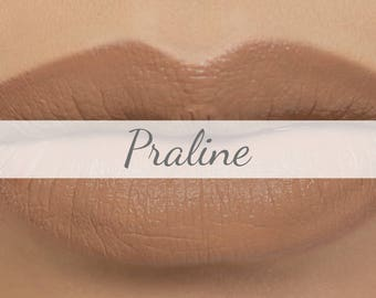 "Matte Nude Brown Lipstick Sample - ""Praline"" tan natural mineral lipstick made with organic ingredients"
