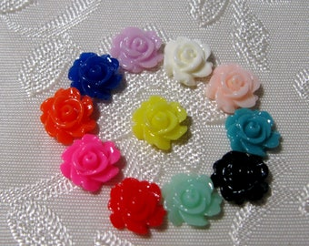 Tiny Resin Rose Flower Cabochons No Hole Small Choose your Colors 7mm 941