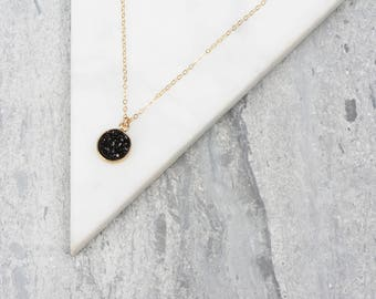 Tiny Black Crystal Necklace, Round Drusy Pendant, Black and Gold Stone Necklace, Dressy Pendant, Druzy Agate Necklace, Short Black Jewelry