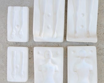 3 x 2 plaster doll woman 3D modelling polymer clay mold