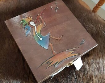 Kokopelli secrets box box wood for your jewelry or precious items safe spiritual herbs and stones