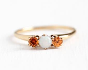 Opal & Garnet Ring - Vintage 14k Rosy Yellow Gold Three Stone - Size 8 1/2 Antique Orange Spessartine Gemstone Art Deco 1920s Fine Jewelry