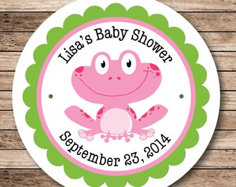 Smiling Frog . Personalized Baby Shower Stickers, Labels or Tags