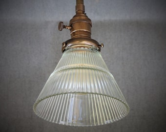 Semi Flush Light Fixture w/ Clear Holophane Glass Shade and Down Rod - Antique Reproduction Fixtures - Hand Finished Brass
