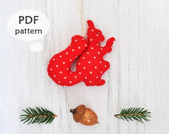 Squirrel Sewing Pattern. Stuffed Squirrel Toy Pattern. Stuffed Animal Sewing Pattern. Christmas Sewing Projects. Sewing Christmas Gifts. PDF