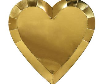 Meri Meri Valentines gold heart plates set of 8
