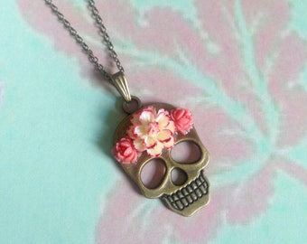 Coral flower skull necklace