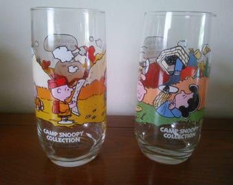Vintage Pair of McDonald's Camp Snoopy Collection Glasses - Camp Snoopy Glasses - Peanuts Glasses