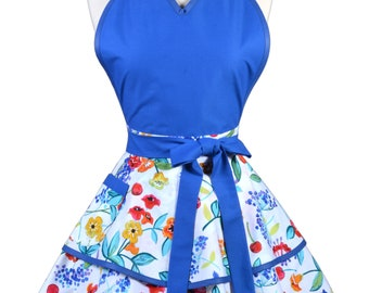 Flirty Pinup Apron - Womens Royal Blue Colorful Floral Kitchen Apron - Sexy Cute Sweetheart Apron with 2 Skirts and Pocket - Monogram Option