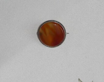 A Lovely Antique Late Victorian or Early Edwardian Silver Mounted Carnelian Agate Brooch