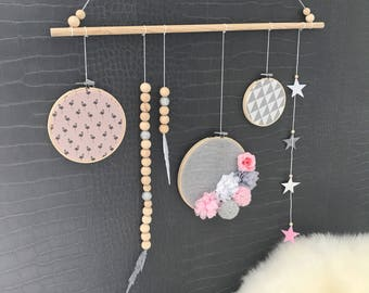 Mobile / wall hanger for children and babies in shades of pink, white and gray