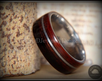"""Bentwood Ring - """"High Voltage"""" Striped Kingwood Ring on Surgical Stainless Steel Core with Guitar String Inlay"""