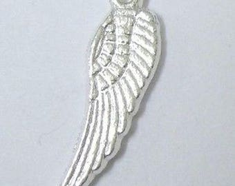 25 pieces 5x17mm Angel Wings Silver Tone Alloy Charm Pendant - A0222