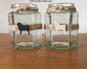 Handmade Pug Jars/Tea Light Holders x 2