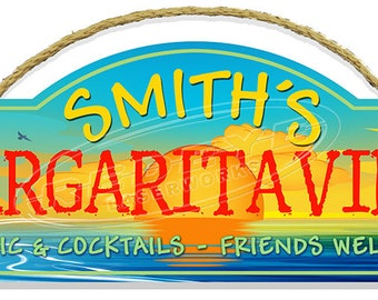 Personalized Margaritaville with 3D Palm Trees Wall Sign