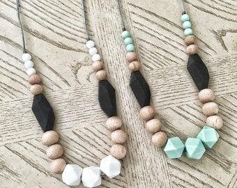 Silicone Beads Wood beads - Teething Necklace / Nursing Necklace Jewelry for Mom and Baby Shower Gift -  Toy / wood teether - night