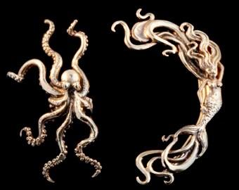 EAR CUFF SPECIAL Octopus Mermaid Ear Cuff Combo Buy 2 Get 1 Ear Cuff Free Octopus Ear Cuff Mermaid Ear Cuff Octopus Earring Mermaid Earring