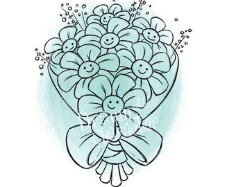 Smiling Flower Bouquet Design with Sentiment, Cookie Image, Digital Stamp, Coloring Page, Card Image-  SP51-BOUQUET