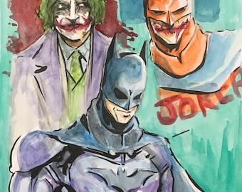 Watercolor Sketching of Batman and Joker