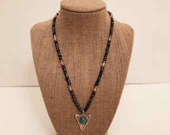 Turquoise Arrow Pendant Beaded Necklace