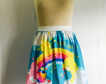 """Colorful Care Bears Ladies Skirt from upcycled fabric - - 38"""" - 44"""""""