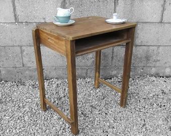 Single School Desk Vintage Table Laptop Office Oak