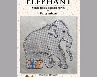 ELEPHANT -- Single Block -- .pdf Instant Download -- Traditional Applique Elephant Pattern -- For Hand or Fusible Applique -- Baby Elephant
