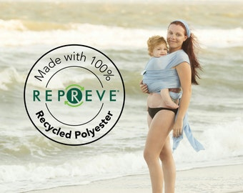 USA made Recycled Beachfront Baby Wrap made with Repreve®- SAFE water babywearing at the beach, pool, water park or in the shower- mesh