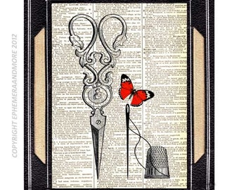 SEWING THIMBLE Needle and SCISSORS art print wall decor Victorian Edwardian sewing on vintage dictionary book page with red butterfly 8x10