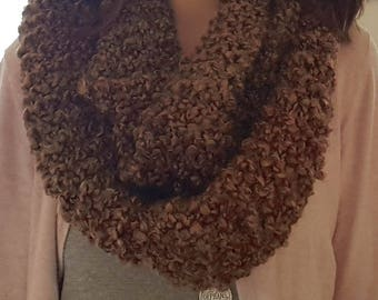 Chunky Knit Infinity Scarf - Brown