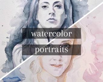 Custom Watercolor Portrait, Original Painting, Handmade