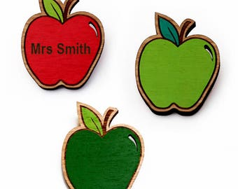 Laser cut wood brooch, delicious red / green apple brooch - school teacher gift