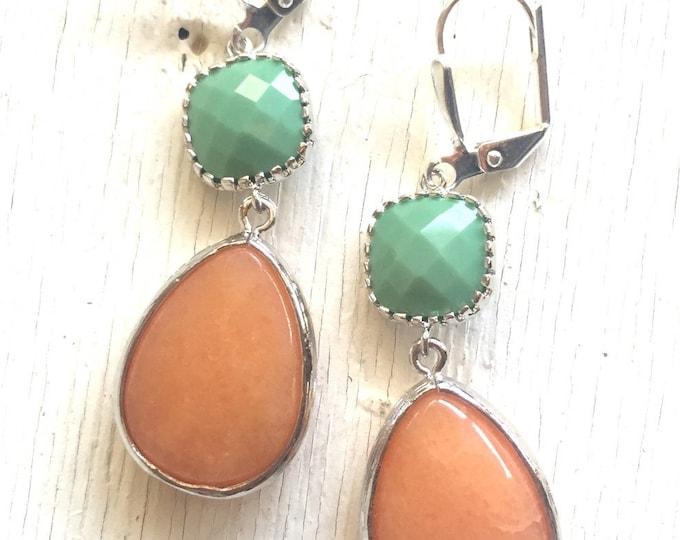 SALE Spring Earrings. Orange and Spring Green Dangle Teadrop Earrings in Silver.  Fashion Orange Jewel Earrings. Dangle Earrings. Gift.