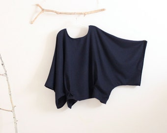 oversized soft navy wool kimono wide sleeve top with folds / navy wool top / wide sleeves / minimalist wool top / plus size fit / free size
