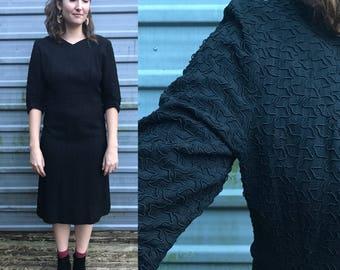 1950s black evening dress w/ soutache embroidery