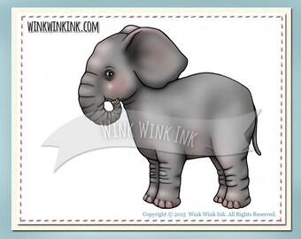 Digital Stamp - Ellie - Baby Elephant printable image