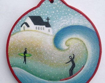 Surfer with Church ornament