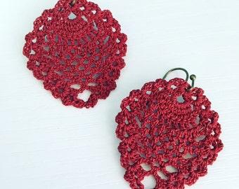 Sheridan Crochet Earrings in Burgundy, Lace Doily Earrings, Gypsy, Boho Fashion, Crochet Pineapple, Dark Red, Gift Under 30, Gift for Her