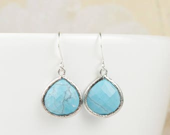 Turquose Quartz Silver Framed Dangle Earrings, Silver Earrings, Turquoise and Silver Earrings, Bridal Jewelry