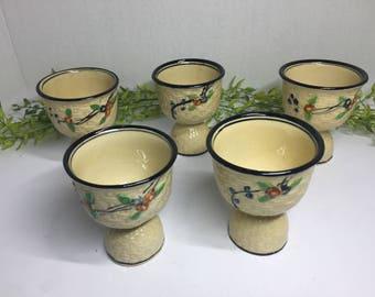 Vintage Set of Five Porcelain 1920 Egg Cups Hand Decorated in Japan