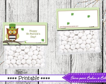 St-Patrick Treat bag Topper- St-Patrick printable - Treat topper printable - Pdf Printable - St-Patrick Treat Toppers - Digital printable