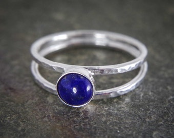 Lapis lazuli sterling silver stacking ring, Dainty thin band with lovely gemstone great addition to any stack - available with many stones